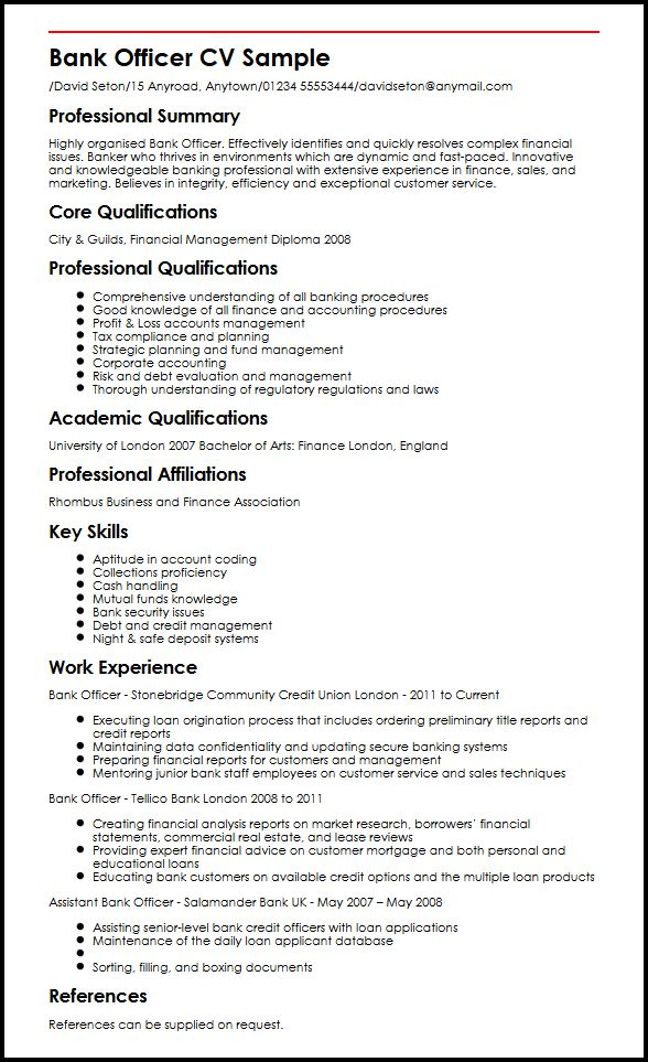 Bank Officer CV Sample MyperfectCV - Good Job Qualifications