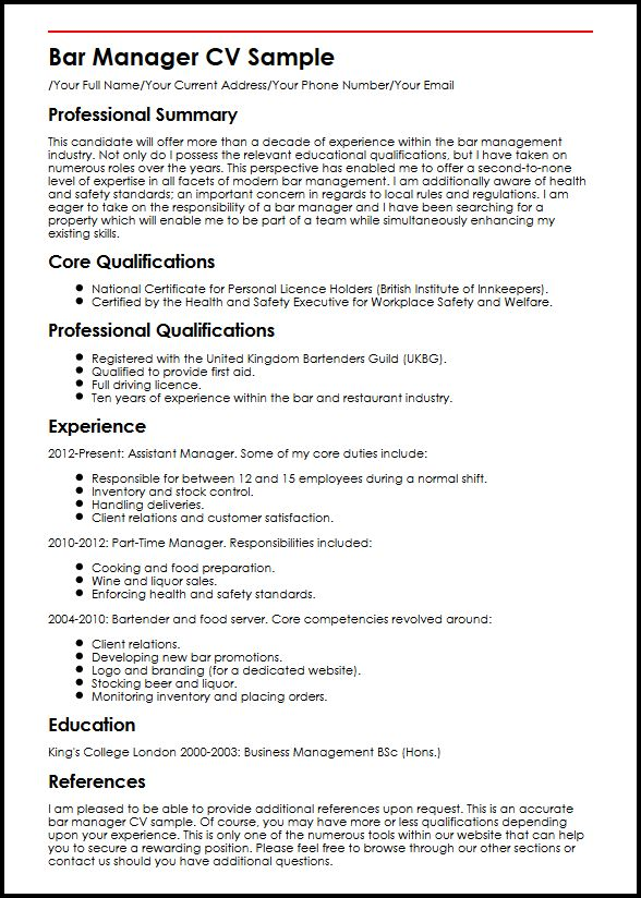 Bar Manager CV Sample MyperfectCV - bar manager duties