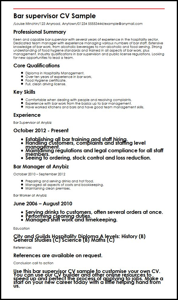 Bar Supervisor CV Sample MyperfectCV - resume career overview example