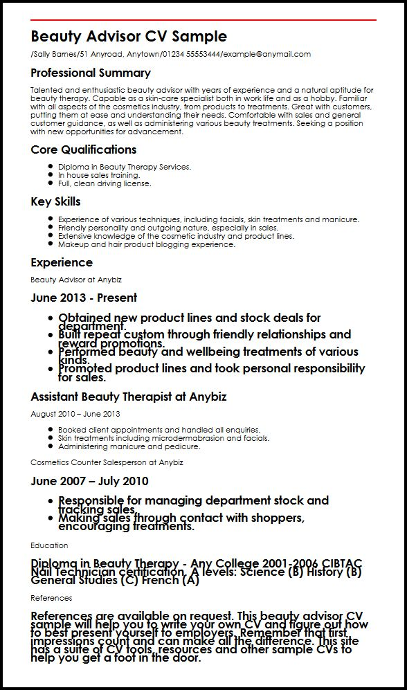 Beauty Advisor CV Sample MyperfectCV