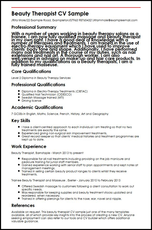 Beauty Therapist CV Sample MyperfectCV - Skin Care Consultant Sample Resume