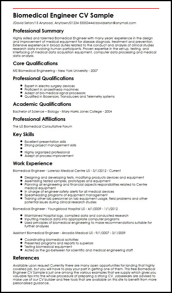 Biomedical Engineer CV Sample MyperfectCV - cv examples for undergraduates