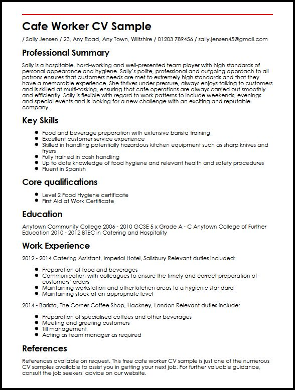 Cafe Worker CV SampleMyperfectCV - Resume To Cv