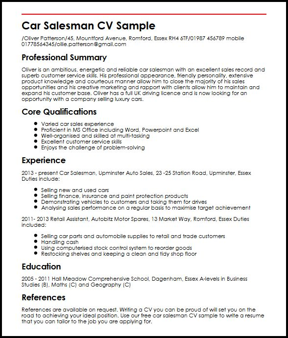 car sales resume examples - Goalgoodwinmetals - sample resume for car salesman