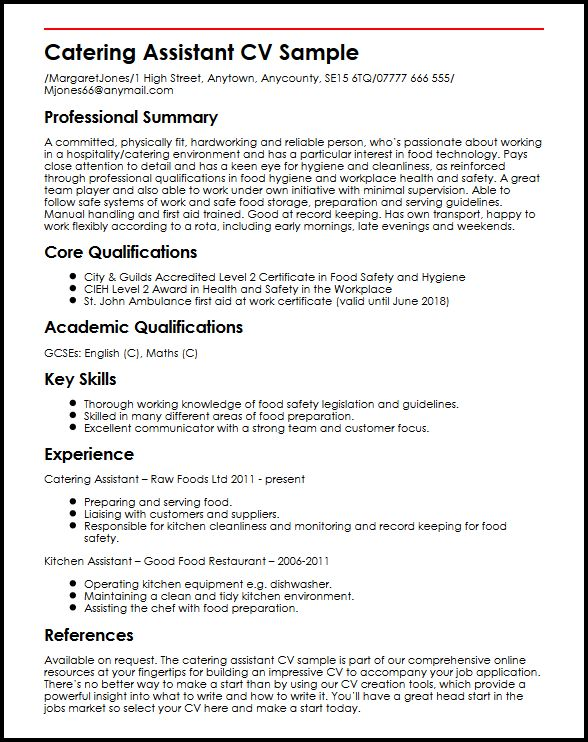 Catering Assistant CV sample MyperfectCV - a great cv example