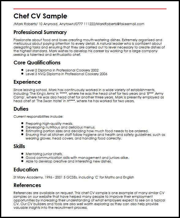 Chef CV Sample MyperfectCV - examples of cv