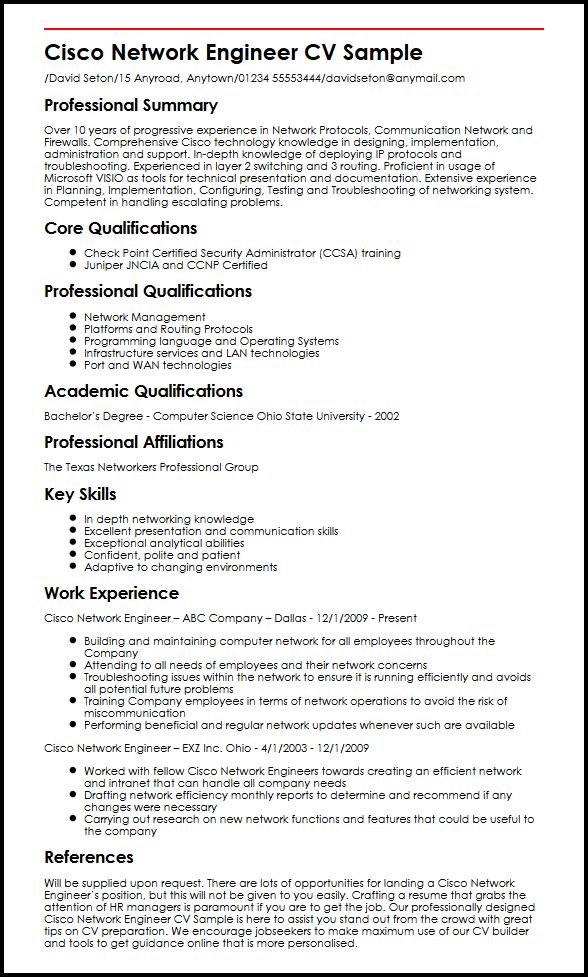 Cisco Network Engineer CV Sample MyperfectCV - network engineer resume format