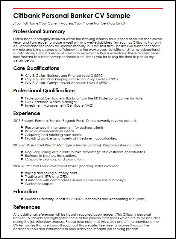 Citibank Personal Banker CV Sample MyperfectCV - Example Of Personal Resume