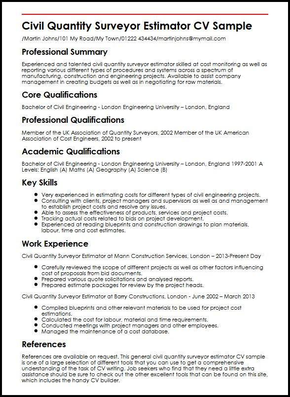 Civil Quantity Surveyor Estimator CV Sample MyperfectCV - Cost Engineer Sample Resume