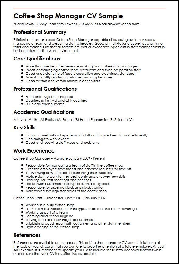 Coffee Shop Manager CV Sample MyperfectCV - Summary Of Skills Resume Sample
