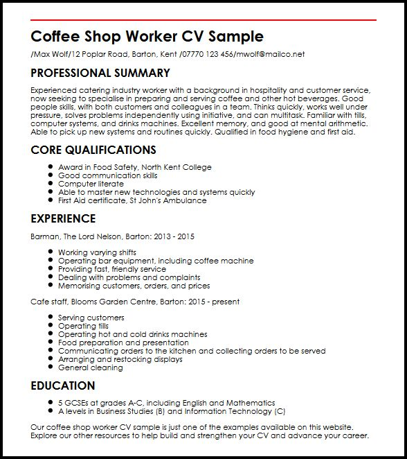 Coffee Shop Worker CV Sample MyperfectCV - Cv Forms Samples