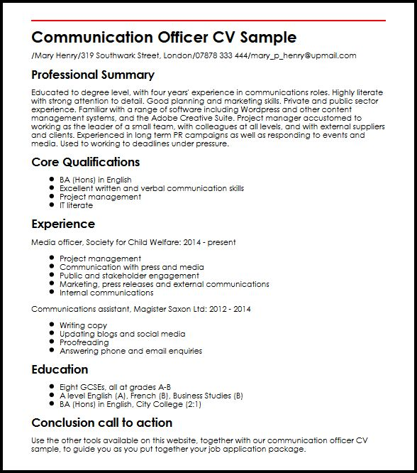 Communication Officer CV Sample MyperfectCV - Media Relations Officer Sample Resume