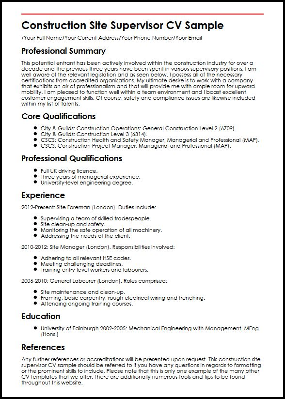 Construction Site Supervisor CV Sample MyperfectCV - rough carpenter sample resume