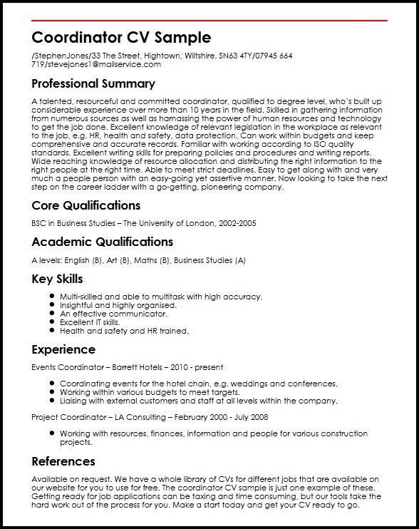 Coordinator CV Sample MyperfectCV - project coordinator job description