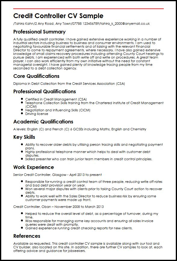 Credit Controller CV Sample MyperfectCV