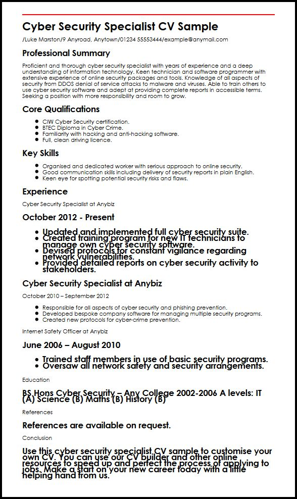 Cyber Security Specialist CV Sample MyperfectCV - cv examples for undergraduates