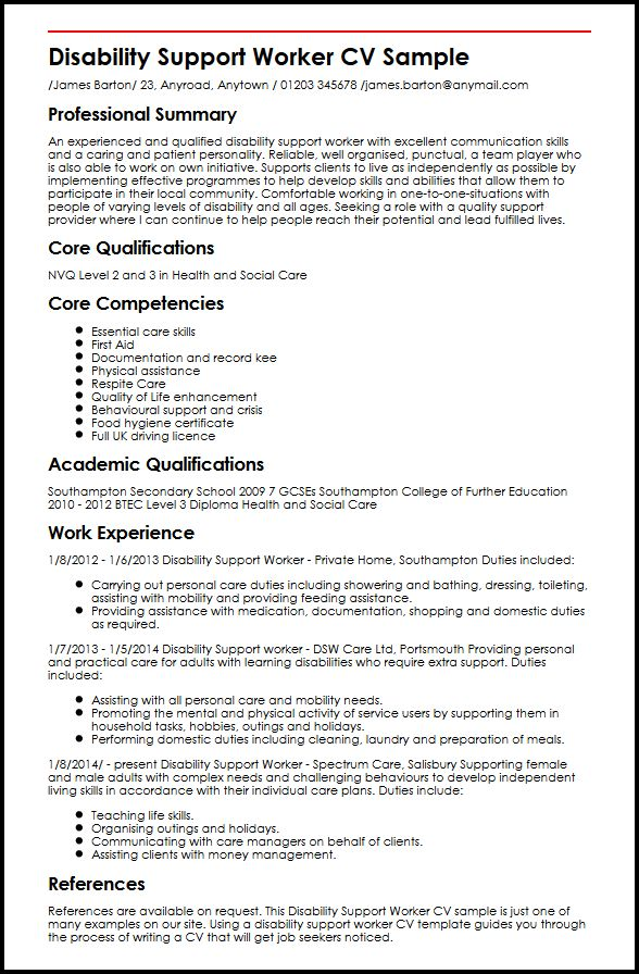 Disability Support Worker CV Sample MyperfectCV - Care Support Worker Sample Resume