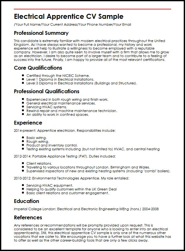 Electrical Apprentice CV Sample MyperfectCV - electrical technician resume