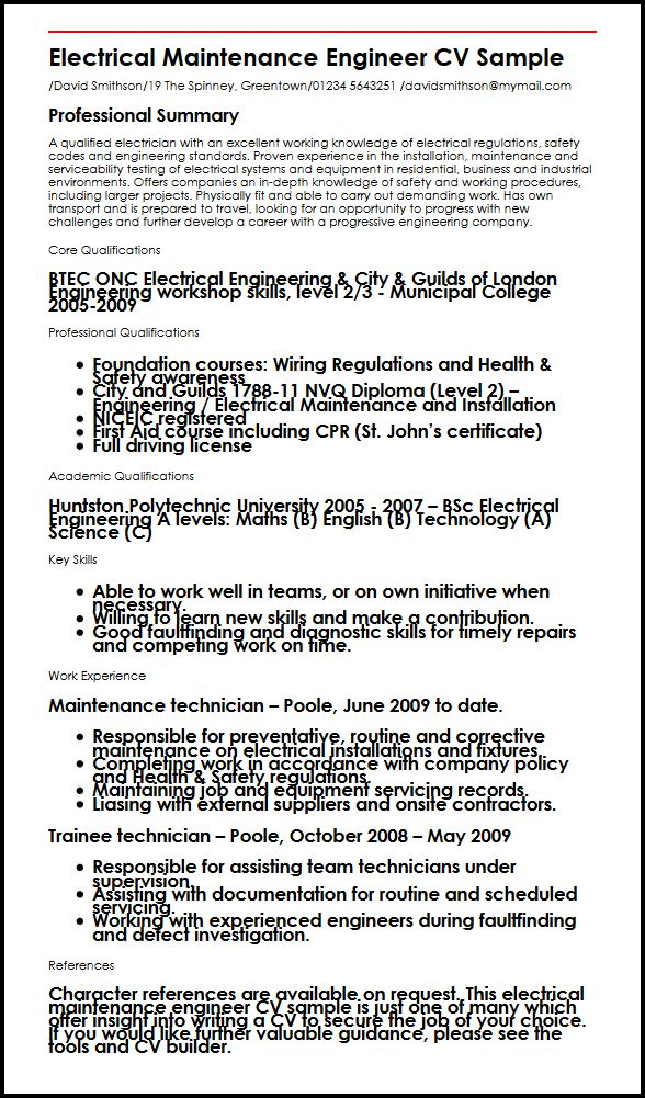 Electrical maintenance engineer CV sample MyperfectCV - electrical technician resume