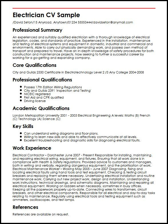 Electrician CV Sample MyperfectCV - cv examples for undergraduates