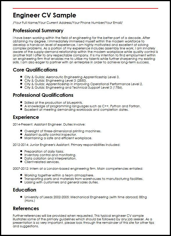 Engineer CV Sample MyperfectCV - Engineering Cv