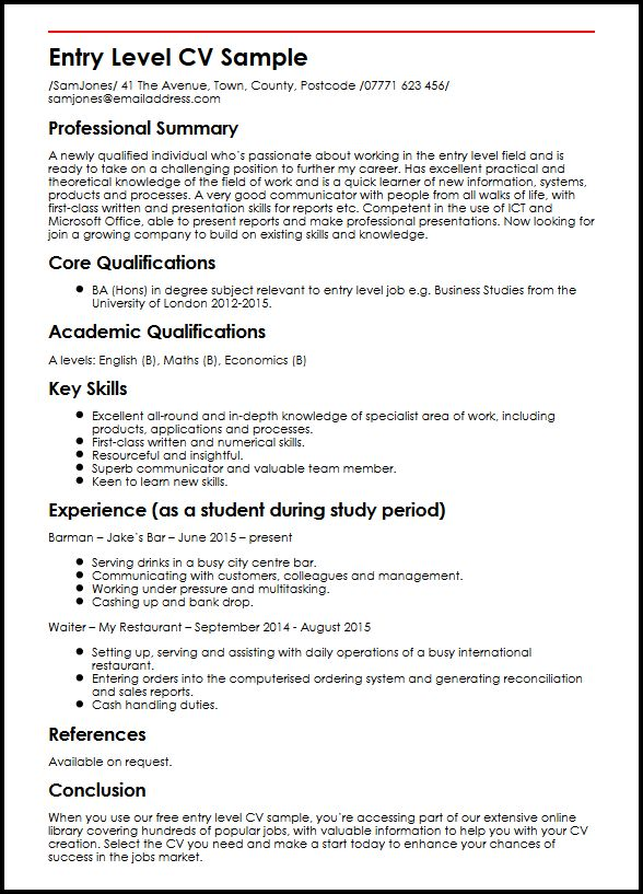 Entry Level CV Sample MyperfectCV - cv examples for undergraduates