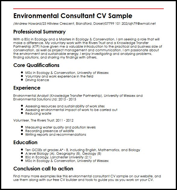 Environmental Consultant CV Sample MyperfectCV