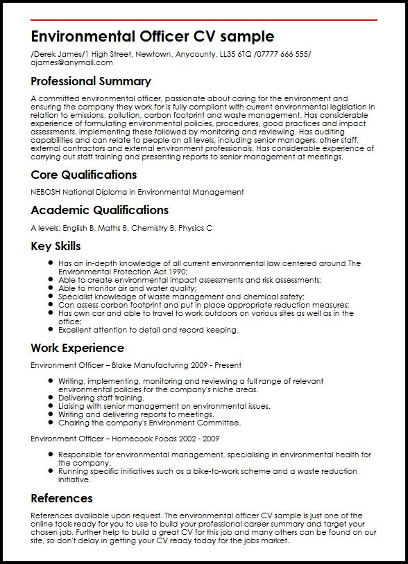 Environmental Officer CV sample MyperfectCV - summary section of resume example