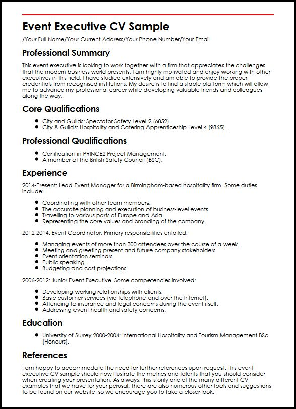 Event Executive CV Sample MyperfectCV - Conference Services Manager Sample Resume