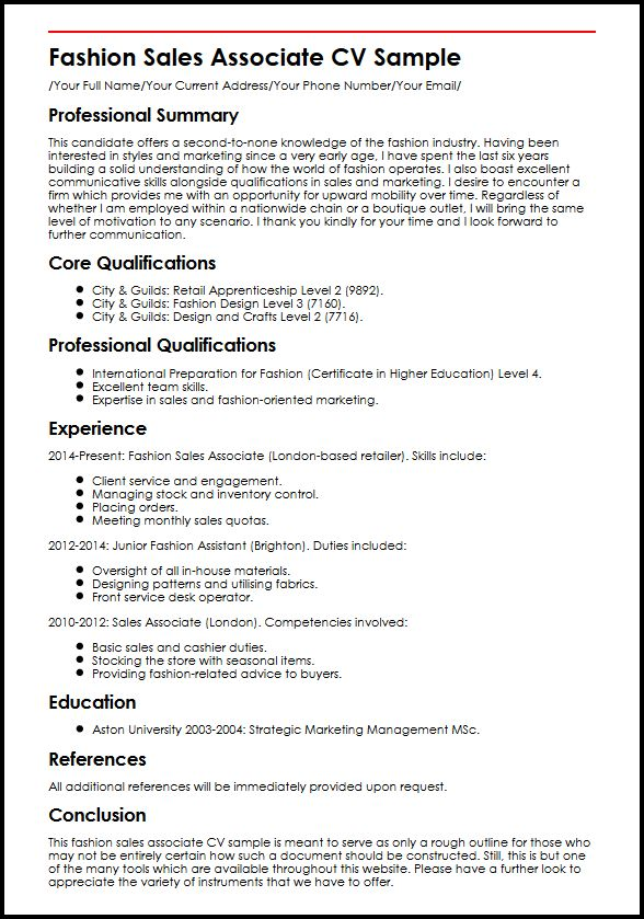 Fashion Sales Associate CV Sample MyperfectCV - retail assistant resume sample