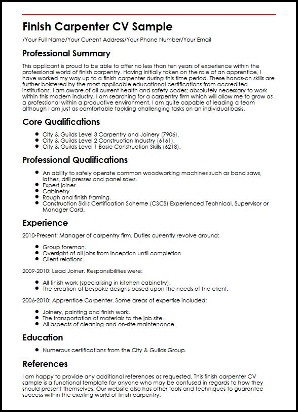 Finish Carpenter CV Sample MyperfectCV - rough carpenter sample resume