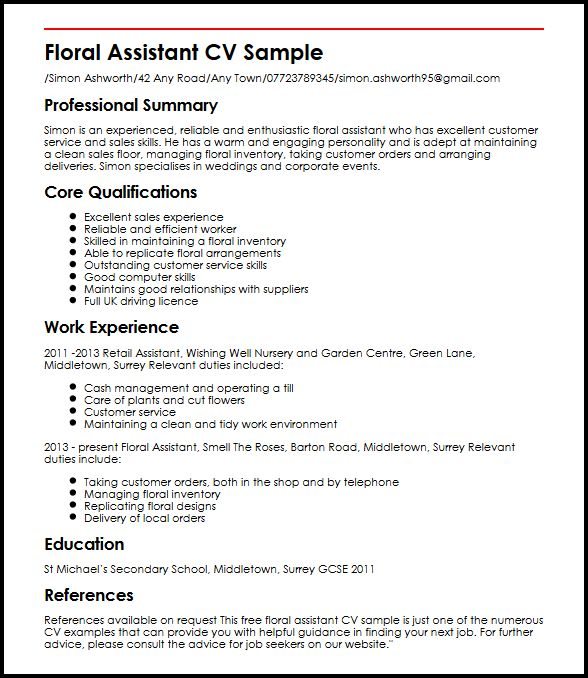 Floral Assistant CV Sample MyperfectCV - Cv Forms Samples