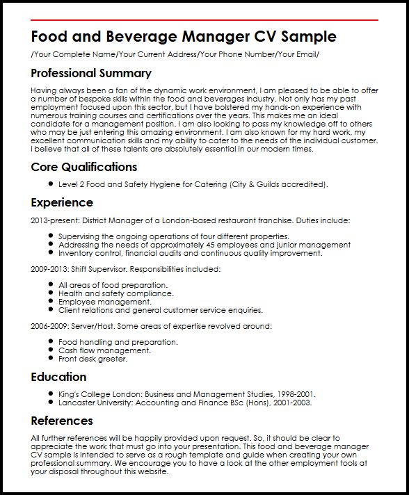 Food and Beverage Manager CV Sample MyperfectCV - audit operation manager resume