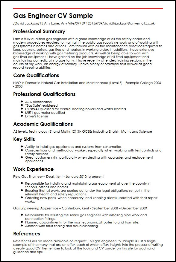 Gas Engineer CV Sample MyperfectCV - a great cv example