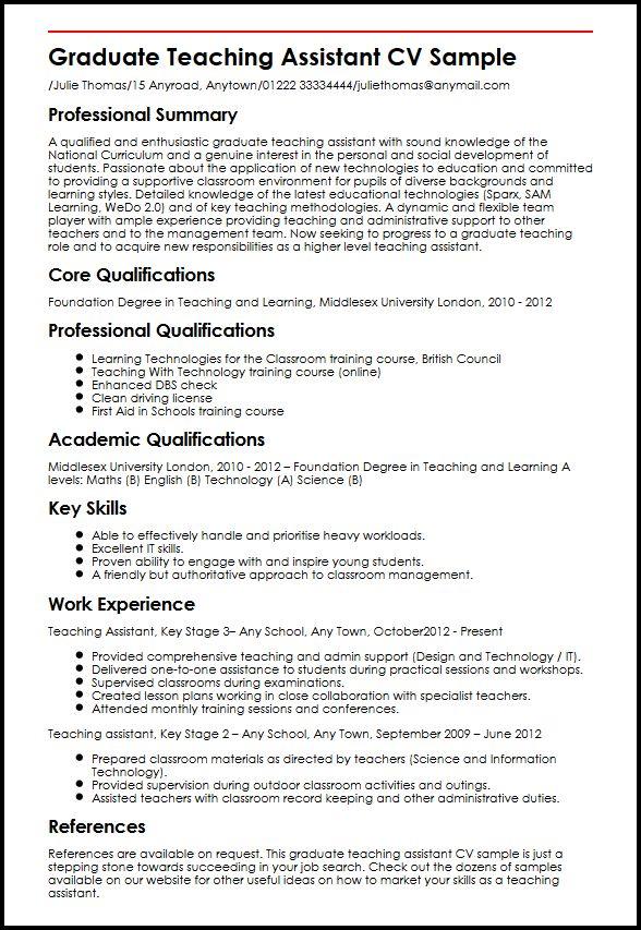Graduate Teaching Assistant CV Sample MyperfectCV - teaching assistant resume