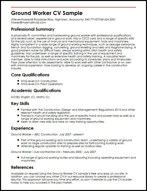 Ground Worker CV Sample MyperfectCV