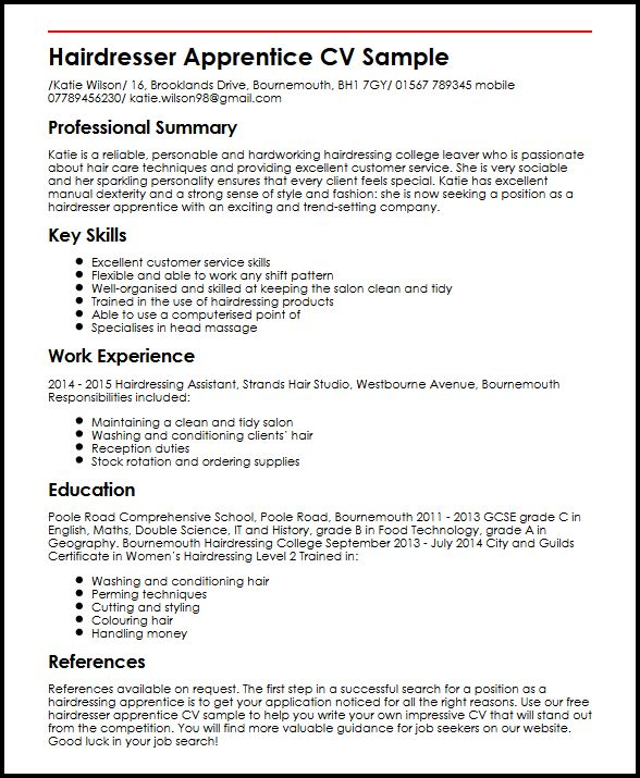 Hairdresser Apprentice CV Sample MyperfectCV - Good Skills For Resume Examples