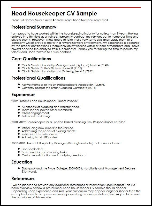 housekeeper cv sample - Ozilalmanoof - housekeeper resume sample