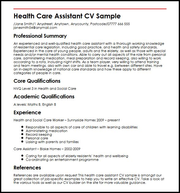 Health Care Assistant CV Sample MyperfectCV - a great cv example