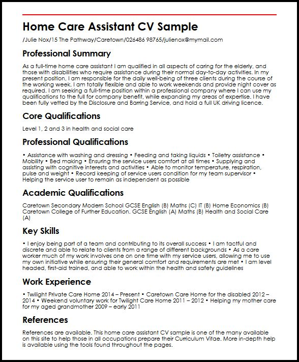 cv for care assistant - Ozilalmanoof - home caregiver sample resume