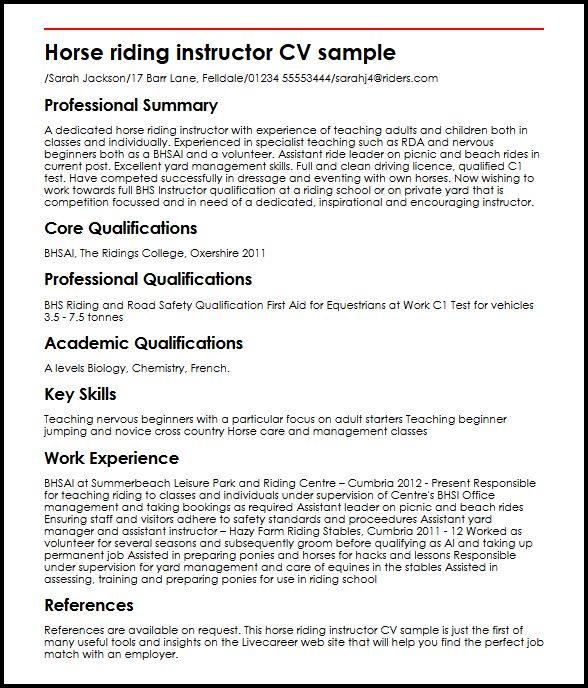 horse trainer resume - Demireagdiffusion