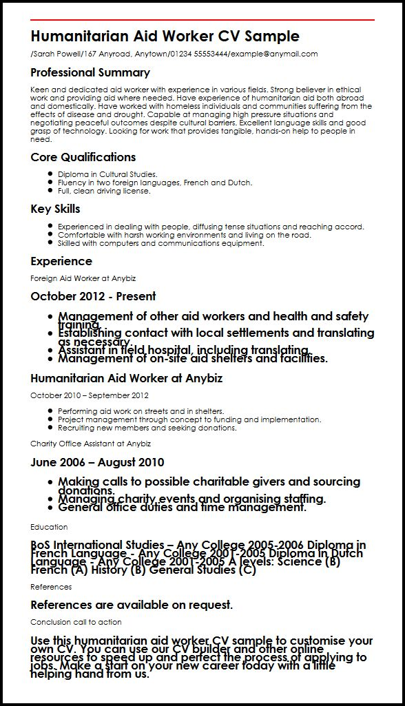 Humanitarian Aid Worker CV Sample MyperfectCV - relief worker sample resume