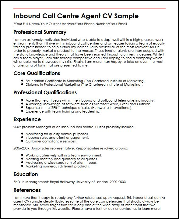Inbound Call Centre Agent CV Sample MyperfectCV - telemarketing agent sample resume
