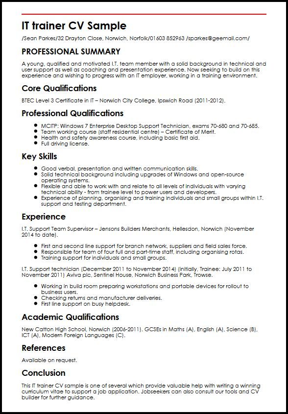 IT trainer CV Sample MyperfectCV - Winning Resume Sample