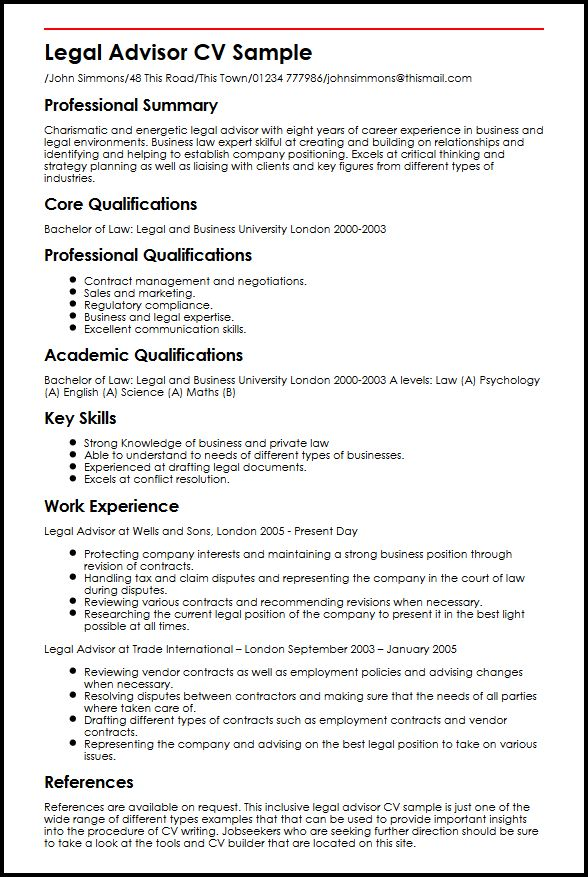 Legal Advisor CV Sample MyperfectCV - key qualifications for resume