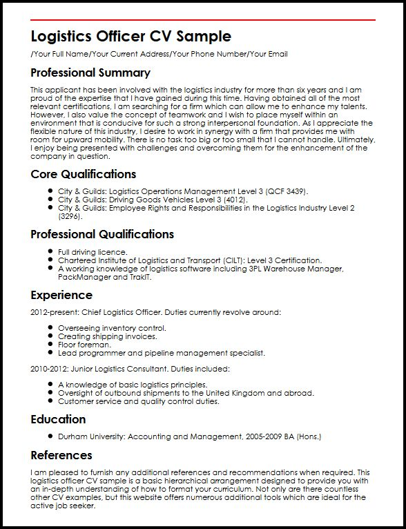 Logistics Officer CV Sample MyperfectCV - chief learning officer sample resume