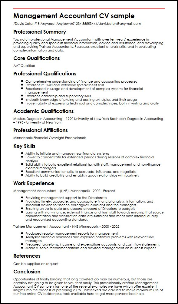 Management Accountant CV sample MyperfectCV - Resume For Accountant Sample