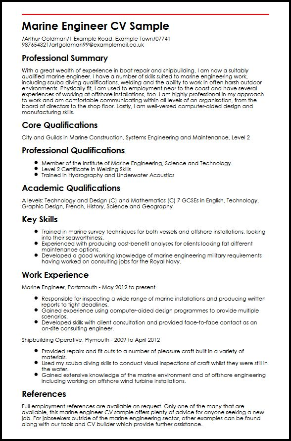 Marine Engineer CV Sample MyperfectCV - assistant chief engineer sample resume