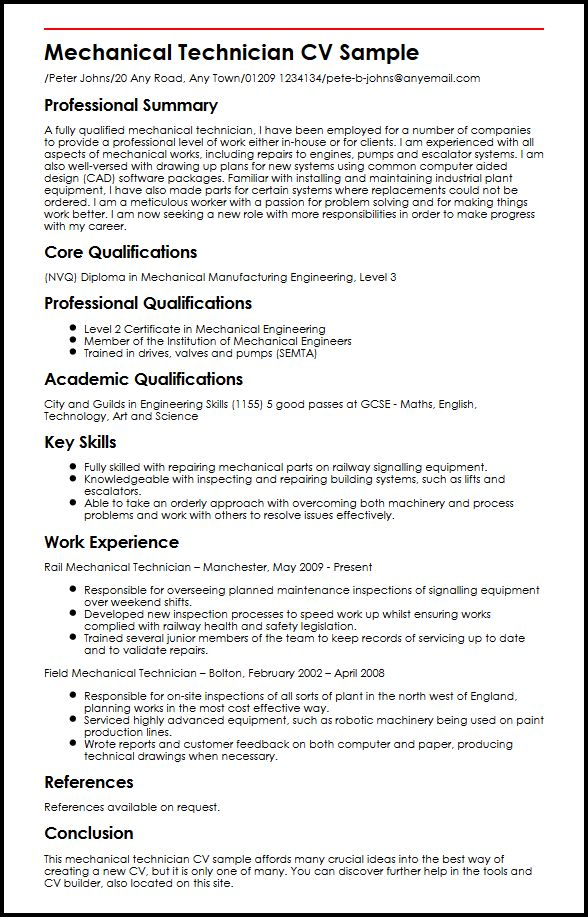 Mechanical Technician CV Sample MyperfectCV