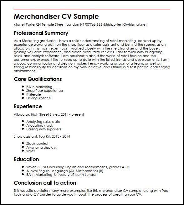 Merchandiser CV Sample MyperfectCV